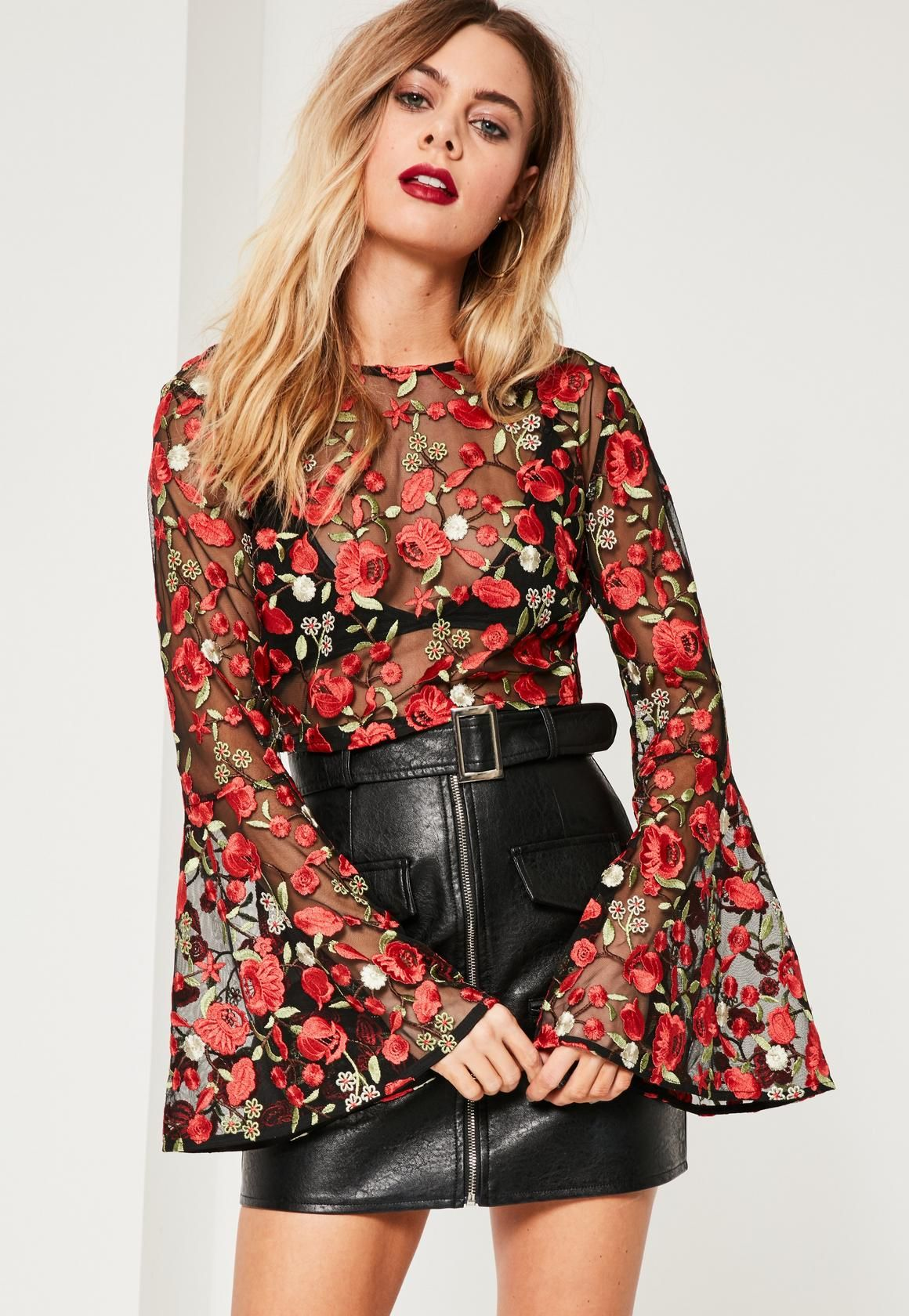 Missguided - Floral Mesh Embroidered Bell Sleeve Crop Top