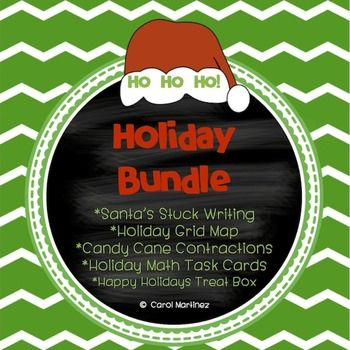 Stock up and save on my five best Holiday products.  You'll receive the following sets:Candy Cane Contractions Task CardsHoliday Grid Map Activity (grid map skills)Holiday Math Task CardsHappy Holidays Treat Box craft (simple, fun open box craft)Santa's Stuck (Instant Writing Fun!)