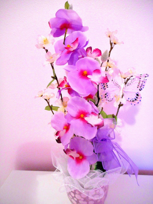 Silk flower orchid stem arrangement mothers day bouquet with silk flower orchid stem arrangement mothers day bouquet with vase lavender and pink phalaenopsis orchids and vase floral memorial reviewsmspy