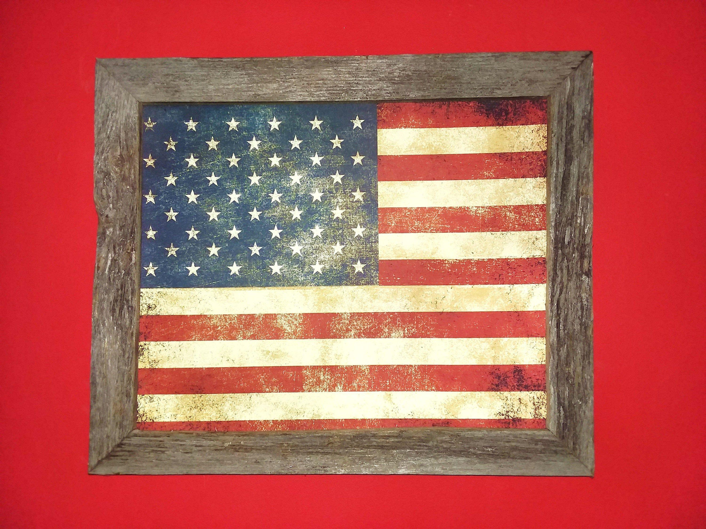 American Flag Art Frame Flag Picture Primitive Wood Frame Decor Custom Framed Wall Decor Americana Decor Canva Barn Wall Art Framed Flag Red Barn Painting