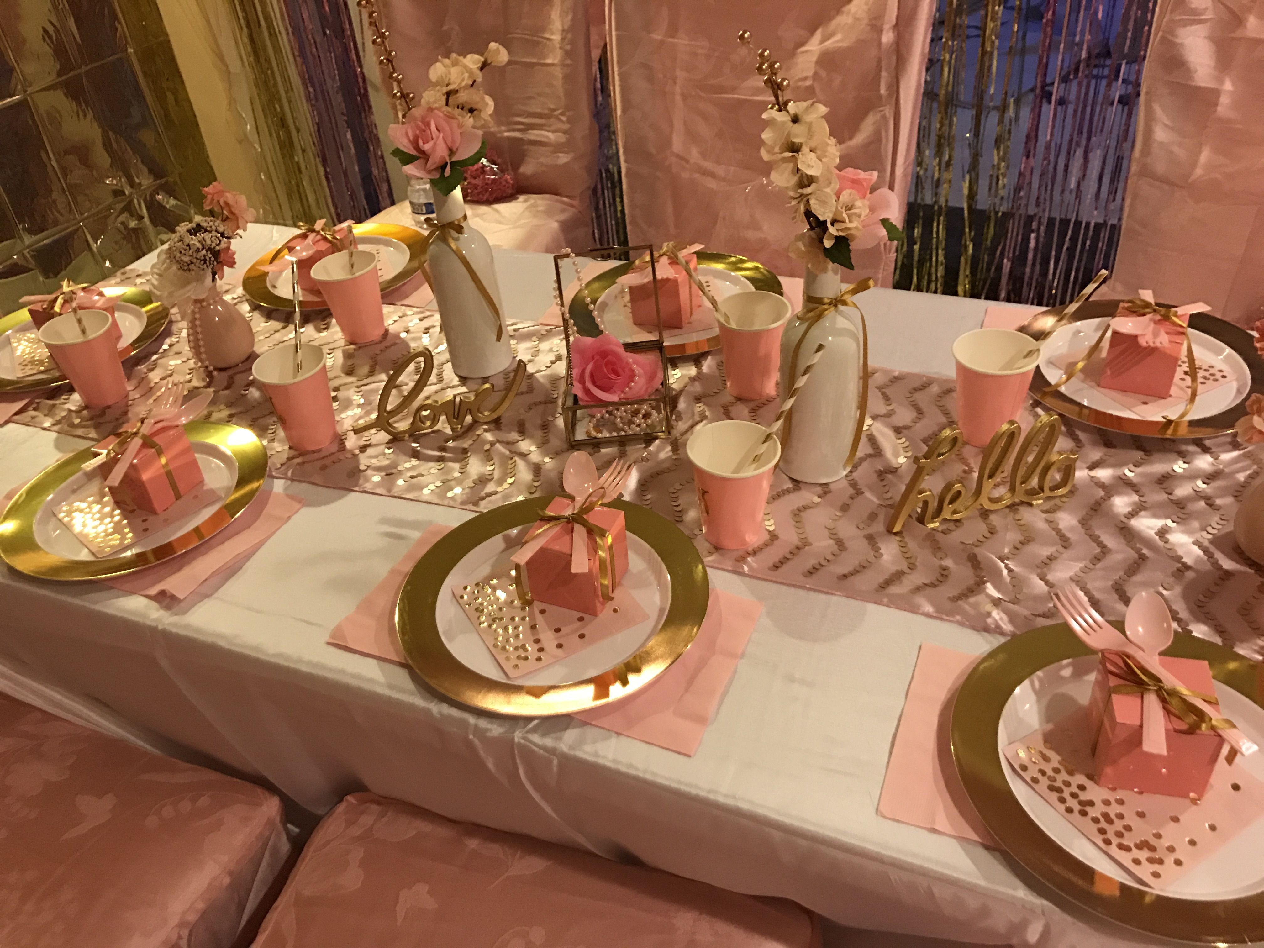 My 7 Year Old Pink And Gold Spa Sleepover Party Table Decor For A Glamorous Feast Birthday Party Table Decorations Spa Sleepover Party Girl Spa Party