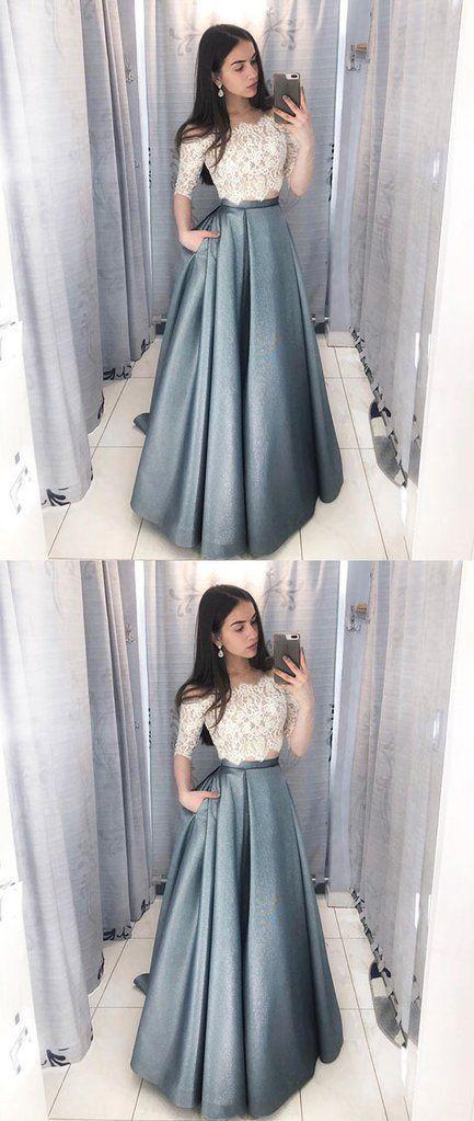 Unique lace two pieces long prom dress, lace evening dress m5168 2