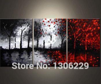 Pintado a mano abstracta en blanco y negro y rojo pinturas for Sala de estar rojo y blanco