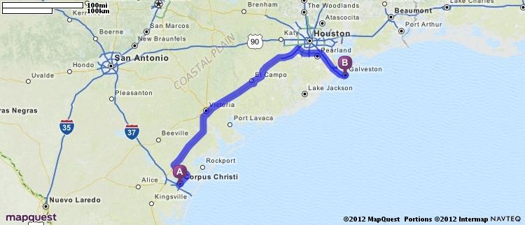 Driving Directions from Corpus Christi, Texas to Galveston, Texas | MapQuest