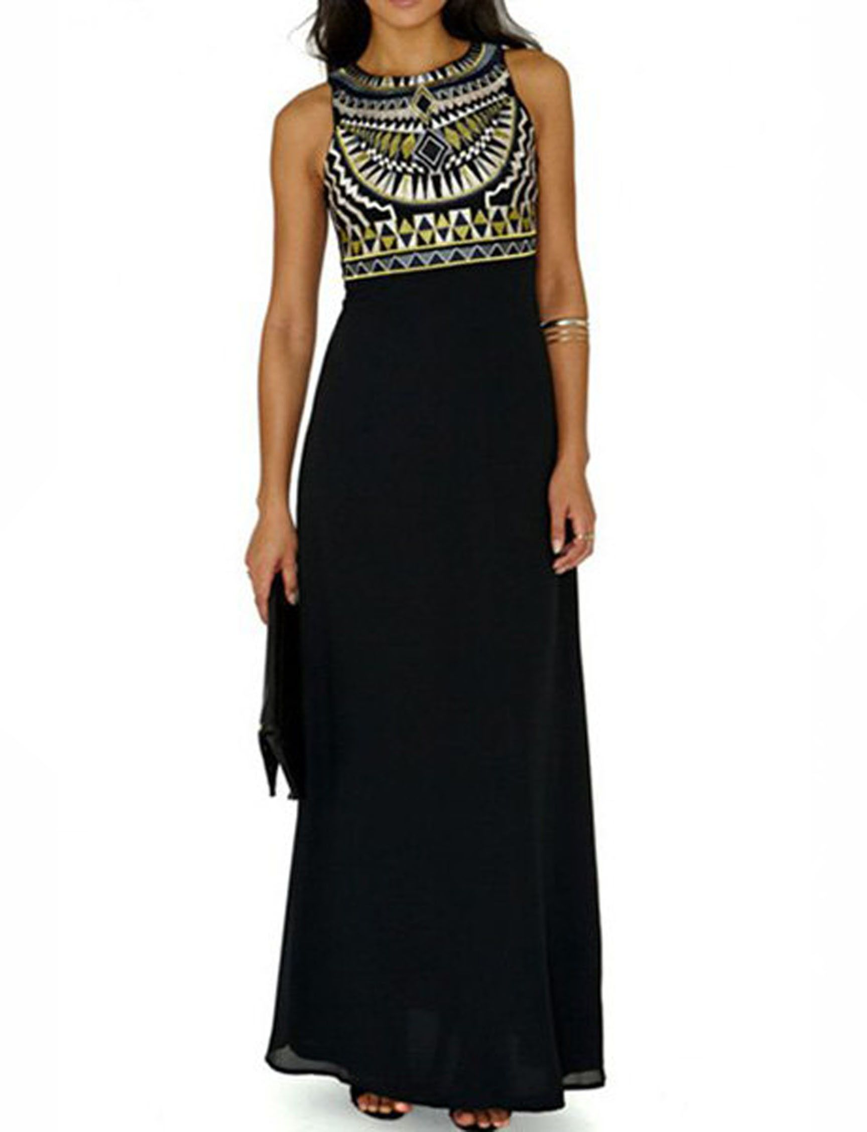 Black ethnic maxi dress womenus fashion pinterest ethnic maxi