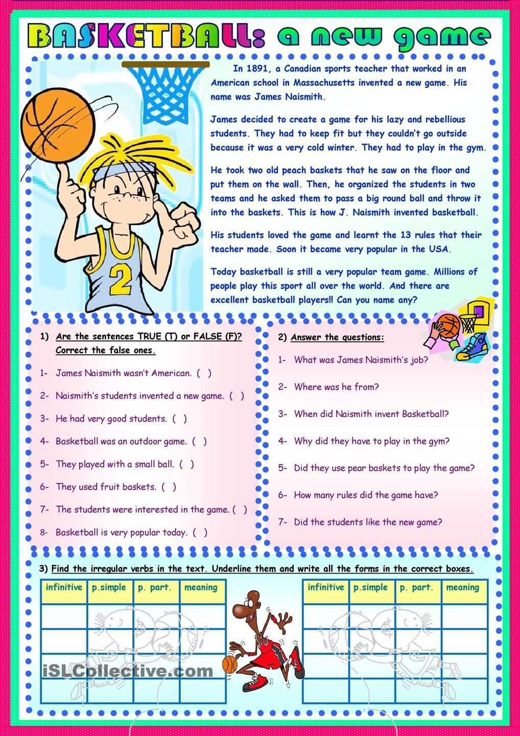 Basketball A New Game Reading Comprehension Lessons Reading Comprehension English Grammar Exercises Reading comprehension worksheets sports