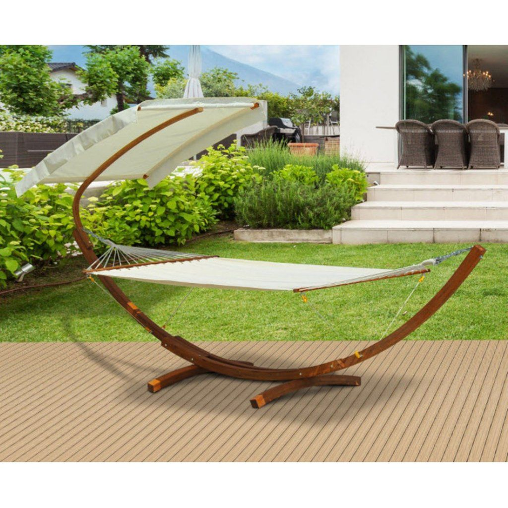 Outsunny wooden hammock swing stand with sun shade outdoor