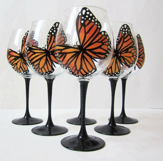 Monarch Butterfly wine glasses hand painted  set of by ocglassware, $115.00