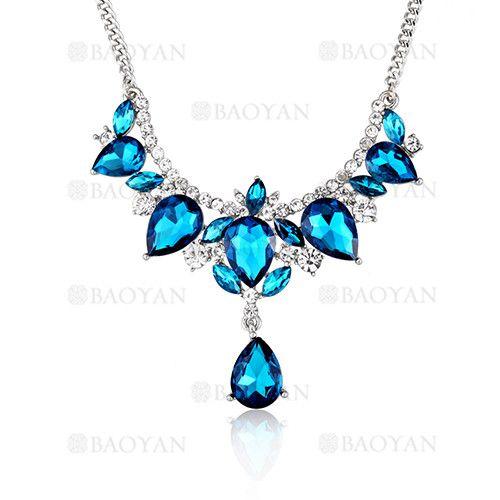 código promocional 6ee81 7c51b collar fantasia de cristal azul brillo en cobre plateado ...