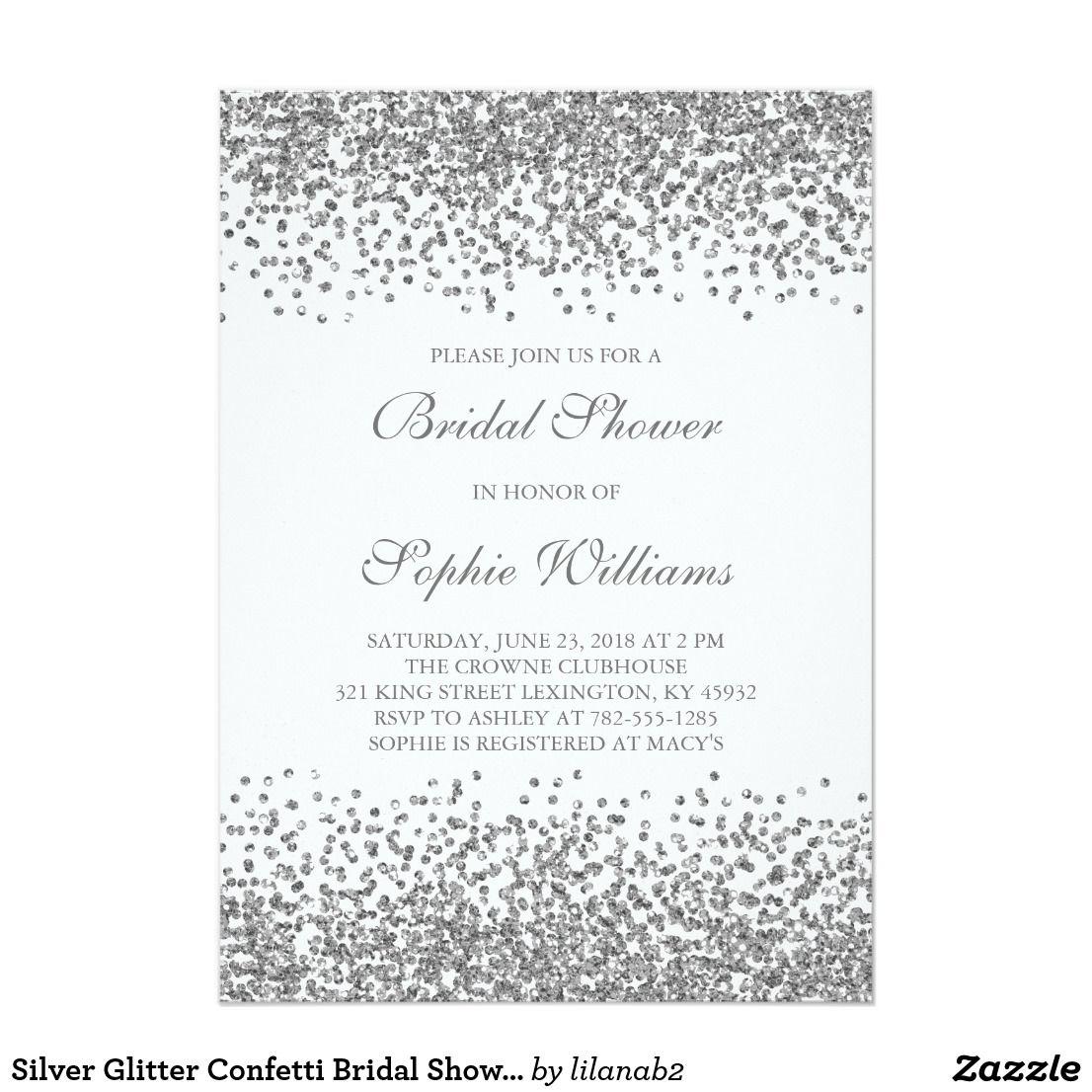 Silver Glitter Confetti Bridal Shower Card This elegant and classy ...