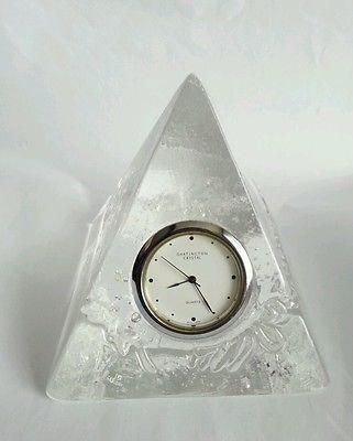 Dartington Glass Crystal Pyramid Quartz Desk Clock Iceberg