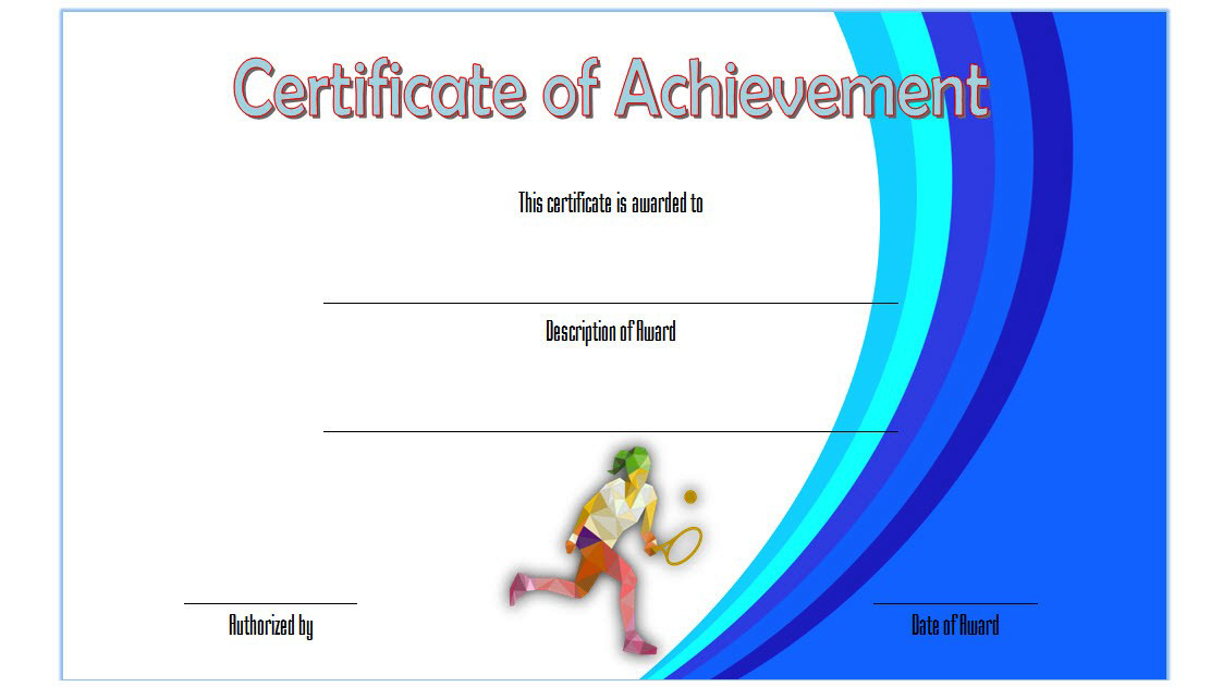 Tennis Certificate Of Achievement Template Free 4 In 2020 Certificate Templates Certificate Of Achievement Template Gift Certificate Template