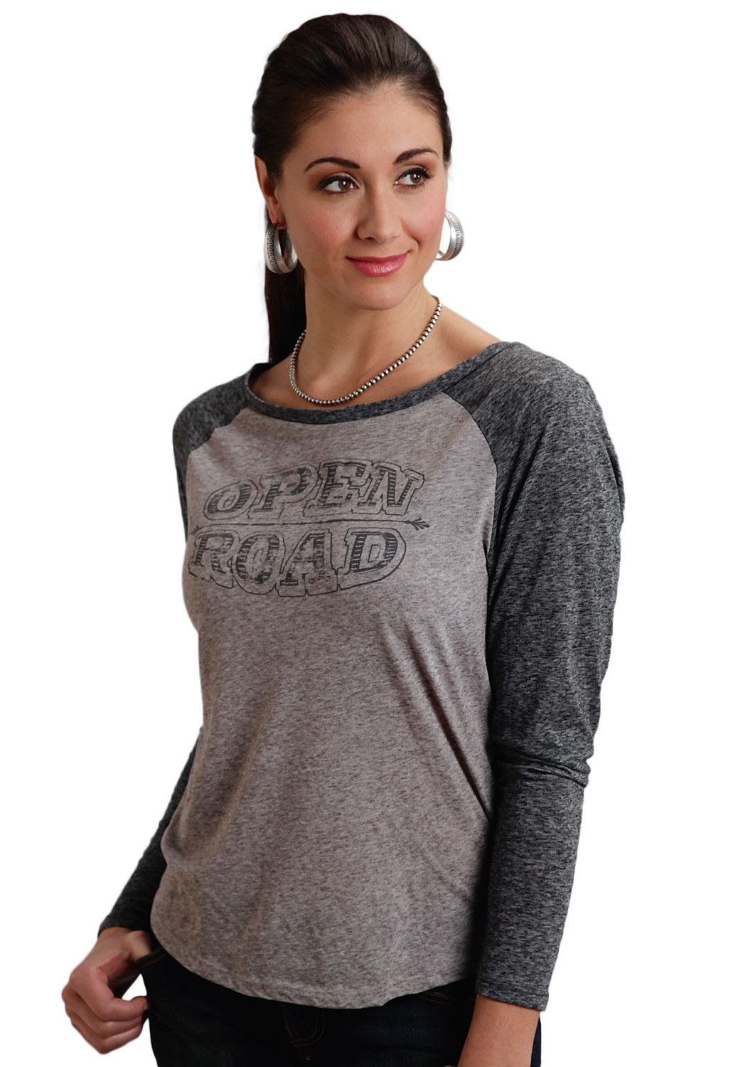 Stetson Ladies Grey 100% Cotton L/S Open Road Baseball Tee