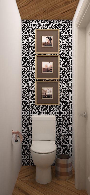 sanitario, piso y techo tipo duela porcelanica, tapiz negro y blanco - tapices modernos