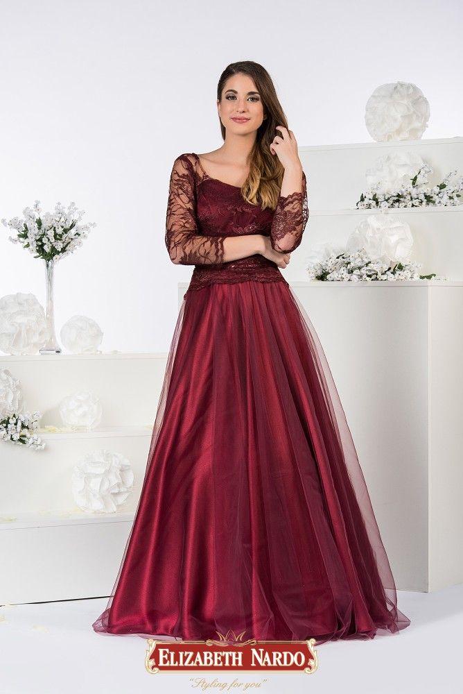 016e2c27af 19-322 Tüll-csipke abroncsos bordó színű ruha | Alkalmi- báli ruha ...