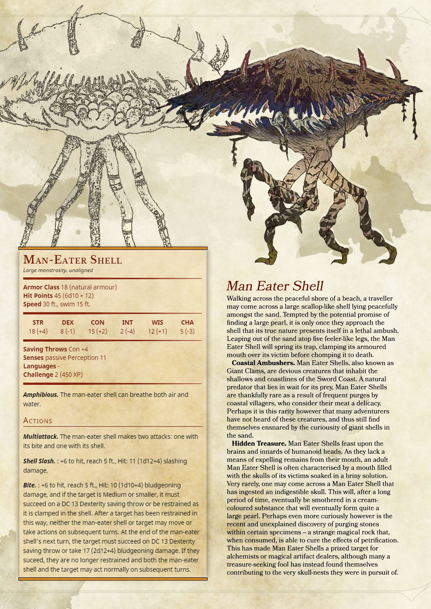 DnD Homebrew Monster Page- Man Eater Shell in 2019 | RPG Ideas