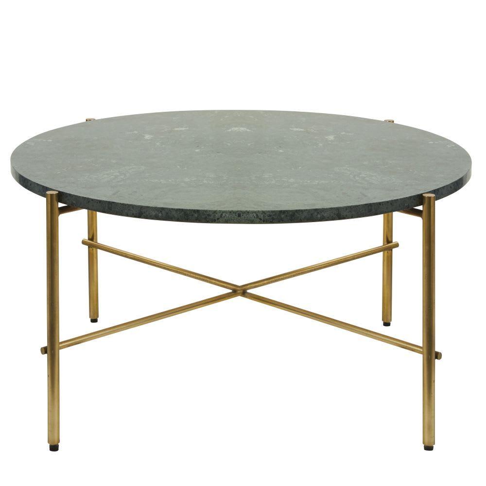 Table Basse Ronde En Marbre Vert Et Metal Coloris Laiton Maisons Du Monde Table Basse Ronde Table Basse Table Basse Metal