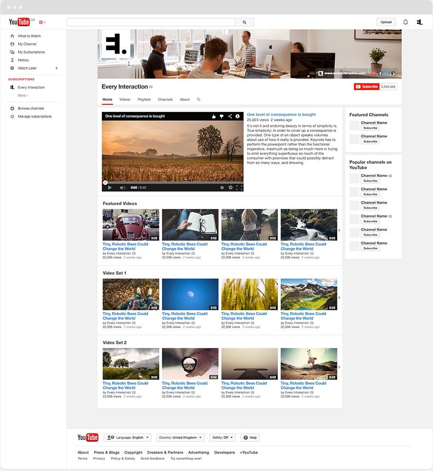 Free YouTube channel GUI PSD template  Create YouTube assets