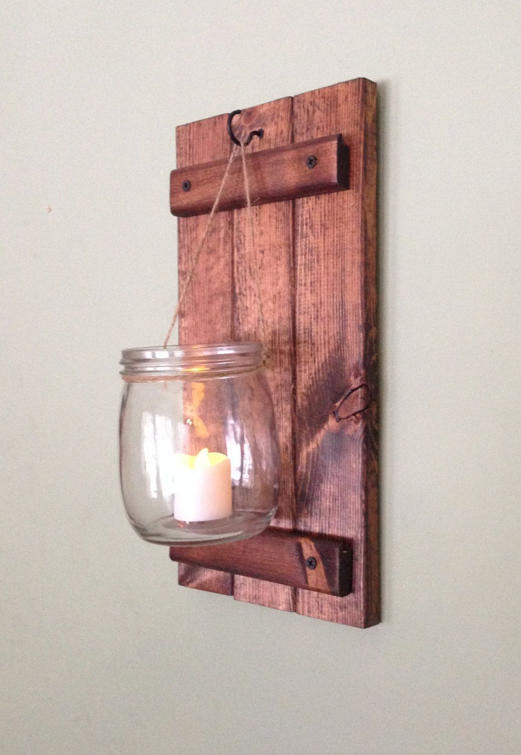 Wooden wall sconce rustic candle holder country wall decor mason wooden wall sconce rustic candle holder country wall decor mason jar wall sconce rustic wedding decor amipublicfo Image collections