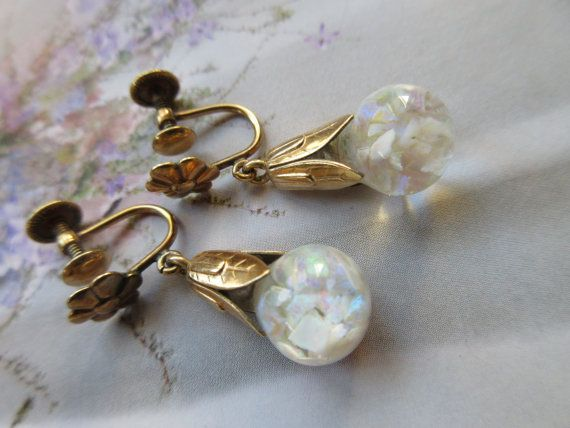 Vintage Floating Opals Earrings 1930s Floating By