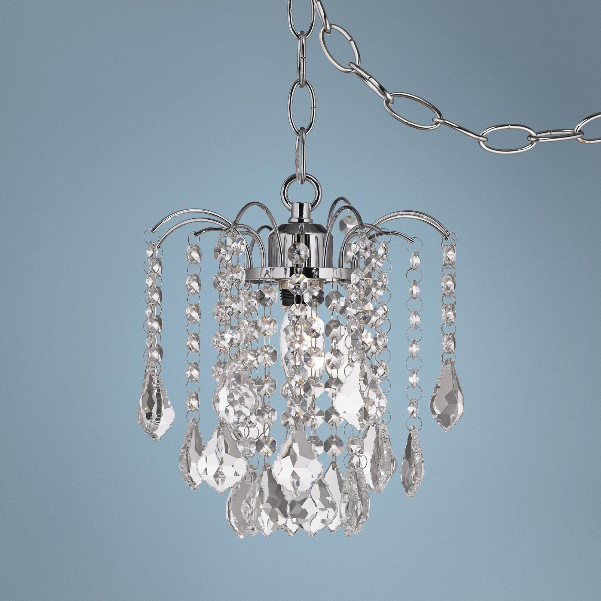"Nicolli Clear Crystal 8"" Wide Swag Plug In Mini Chandelier"
