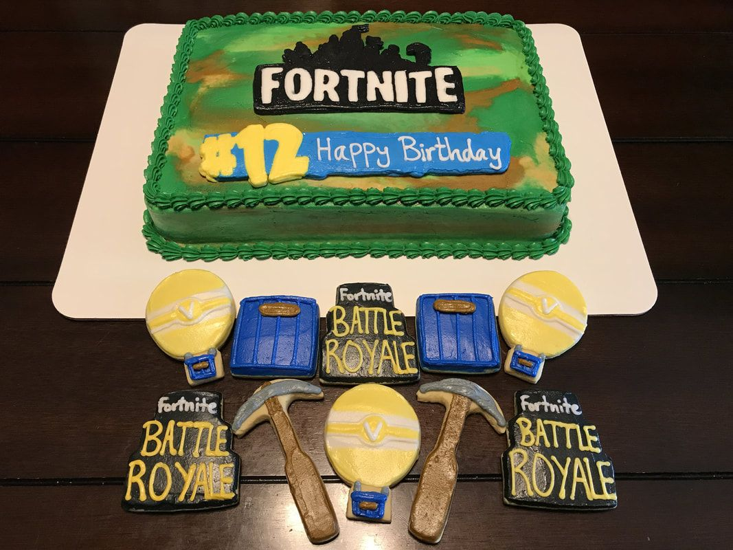 Fortnite Birthday Sheet Cake And Cookies Baking In 2019 13