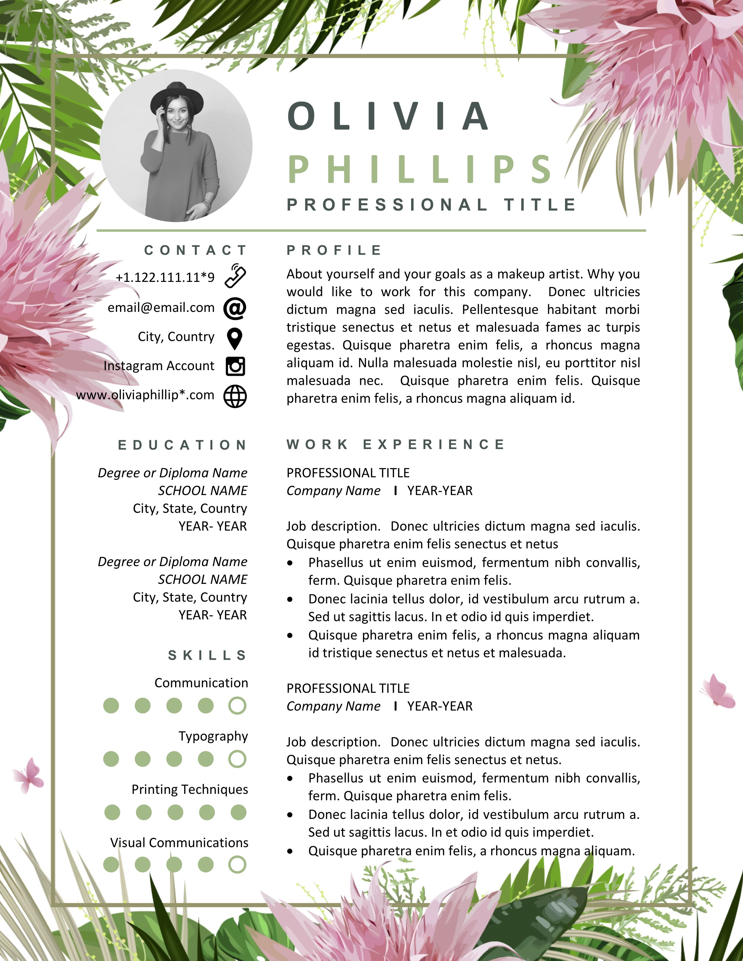 Floral Resume Template Instant Download Creative Resume Templates Resume Designed For Florist Fashion Artist Retail Designer Stylist Resume Template Resume Design Creative Cv