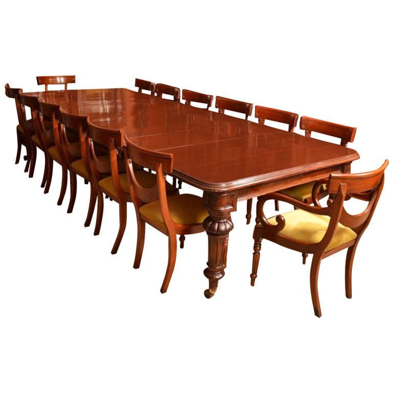 Antique 12 Foot Victorian Dining Table Circa 1860 And 14 Chairs From A Unique Collection Of Modern Room Sets At