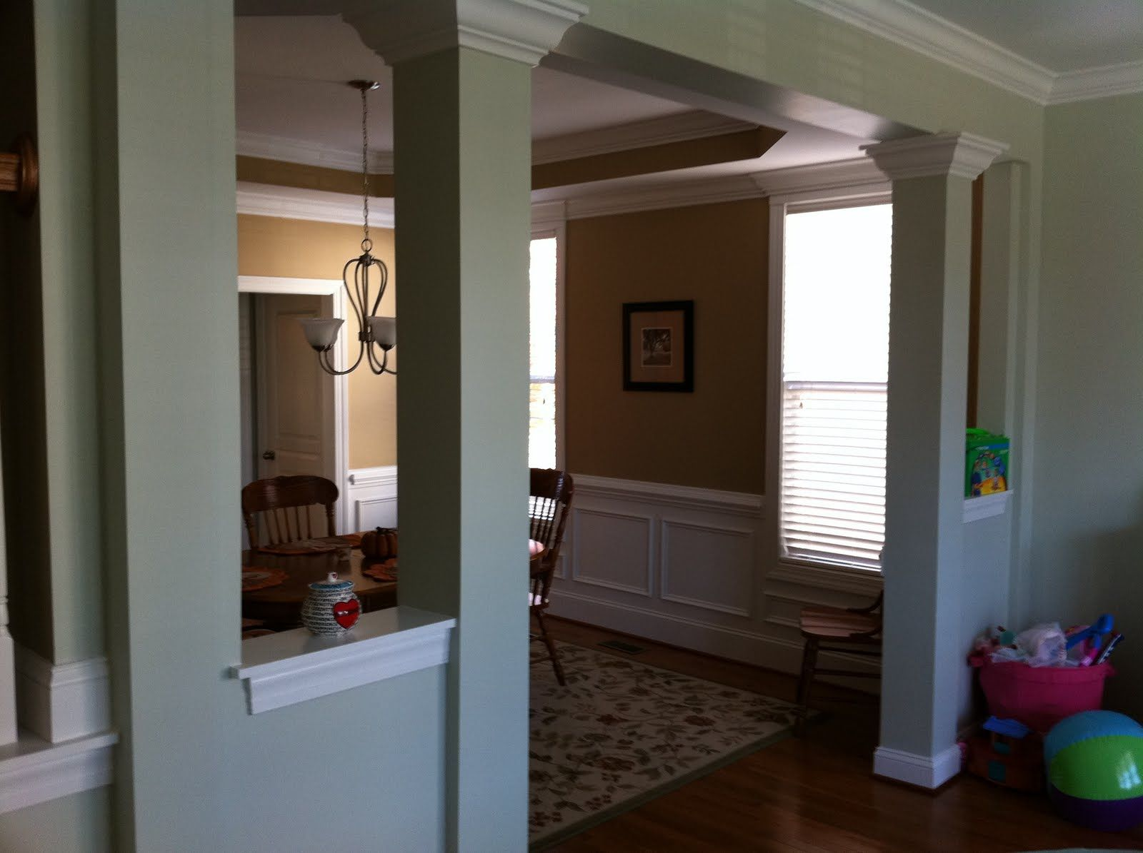 Half Wall With Columns And Bookcase