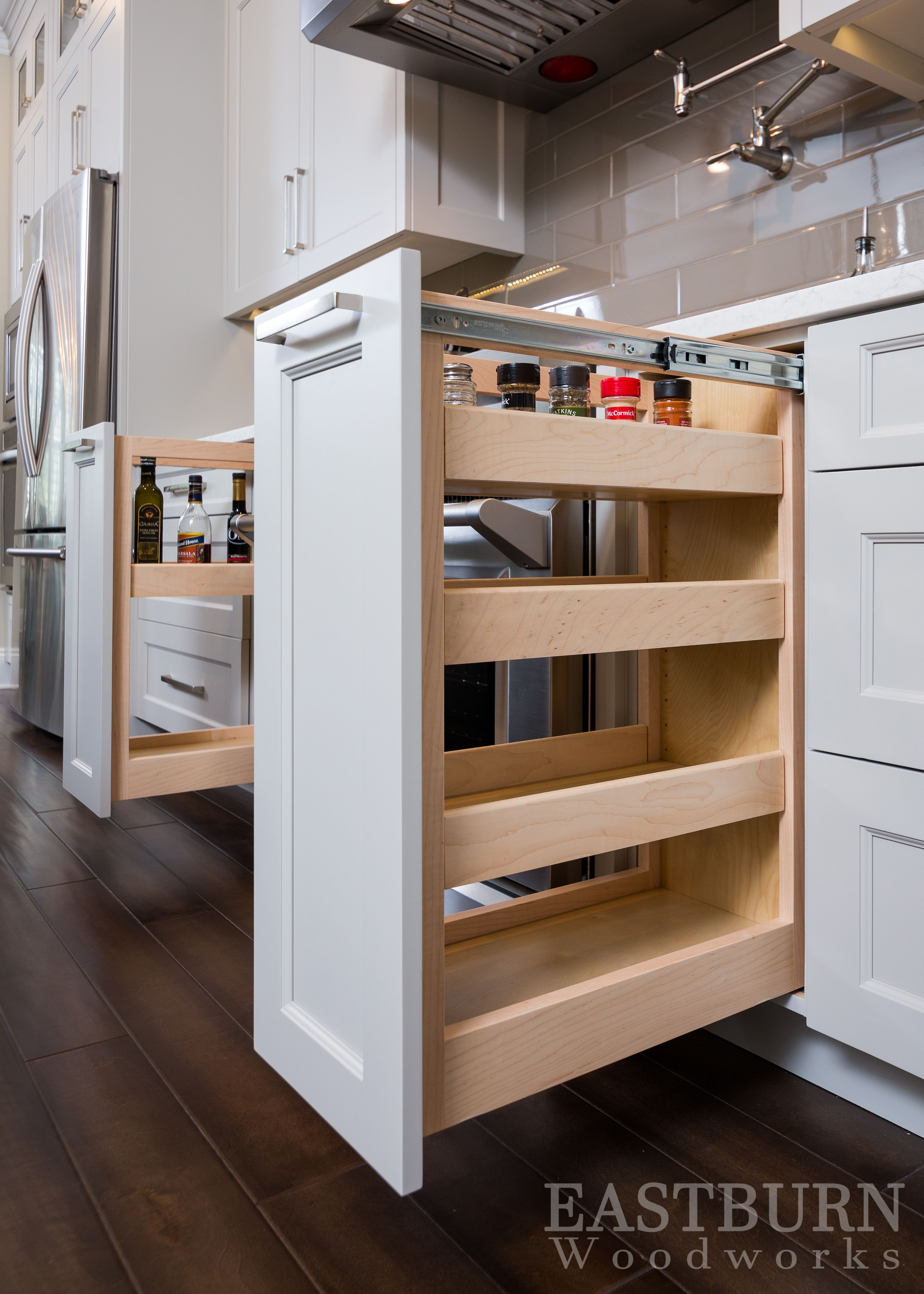 White Kitchen Cabinets With Pull Out E Drawers And Tops Hardware