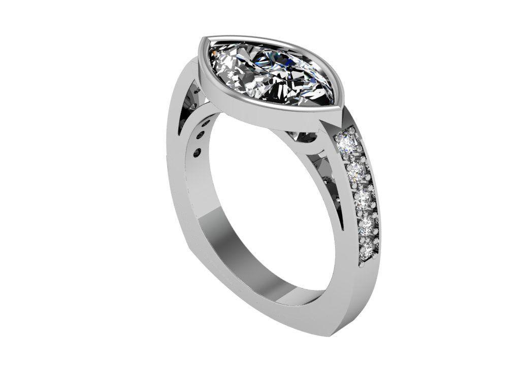 Marquise diamond setting ideas - Jennifer Is Our Platinum East West Bezel Marquise Diamond Engagement Ring