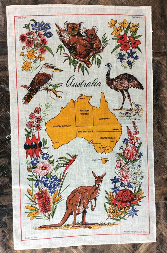 Vintage Australia Fabric Or Kitchen Towel With Map By Princeangie