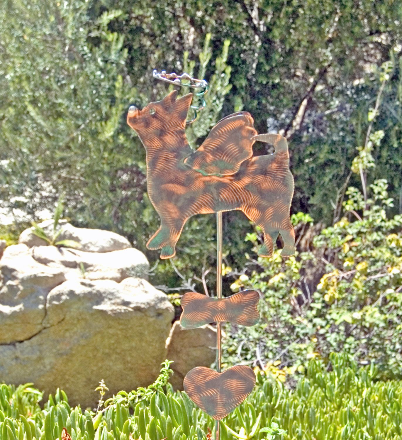 Chihuahua Metal Garden Art Stake / Pet Memorial / Copper Art / Yard Art /  Dog Art / Animal Sculpture / Silhouette / Dog Lover Gift / Spike