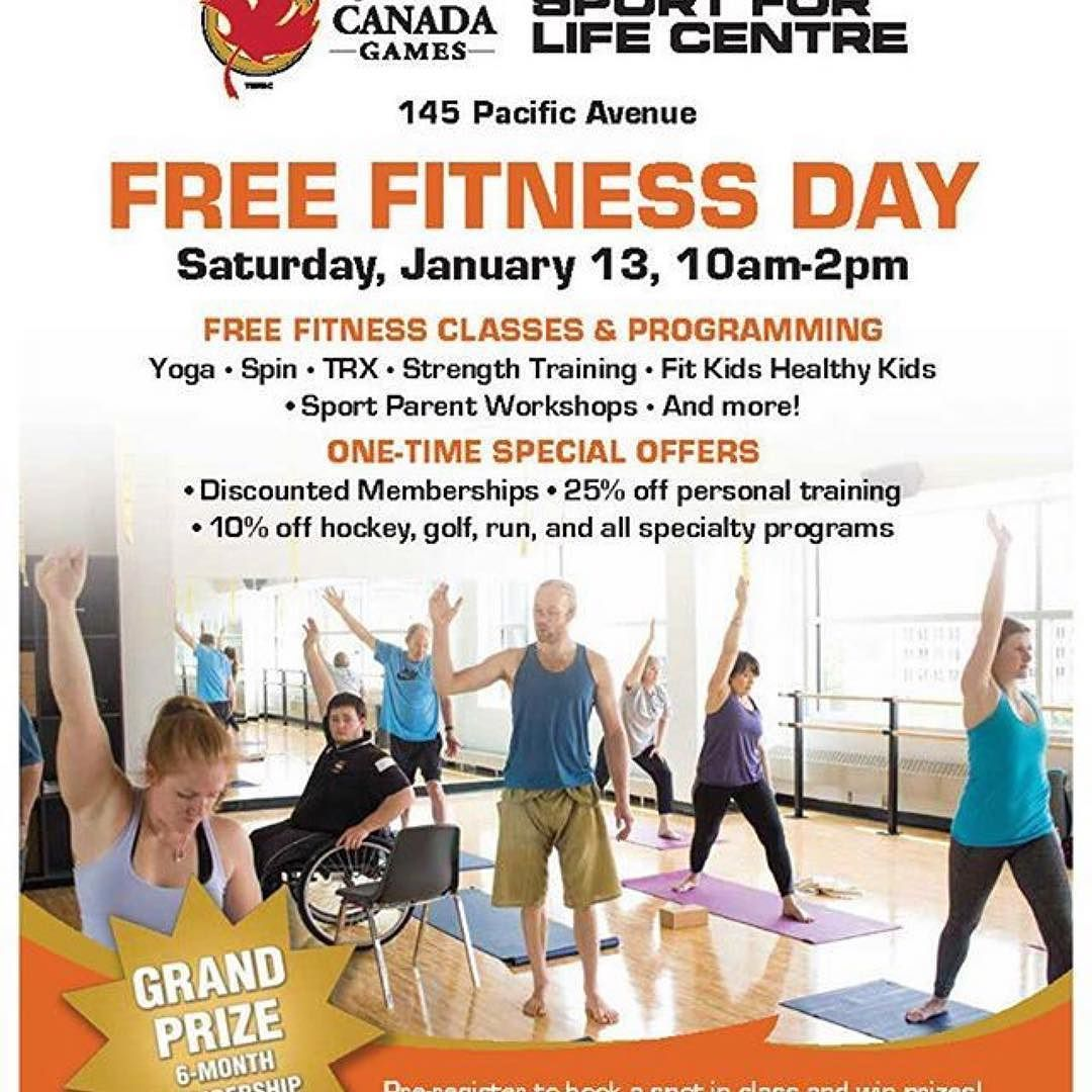 Canadagamessflc Jan 13 Is Free Fitness Day At The Canada Games Sport For Life Centre Free Fitness Classes Activ Free Workouts Fitness Class Exercise For Kids