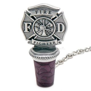 Firefighter Pewter Wine Stopper From Homewetbar