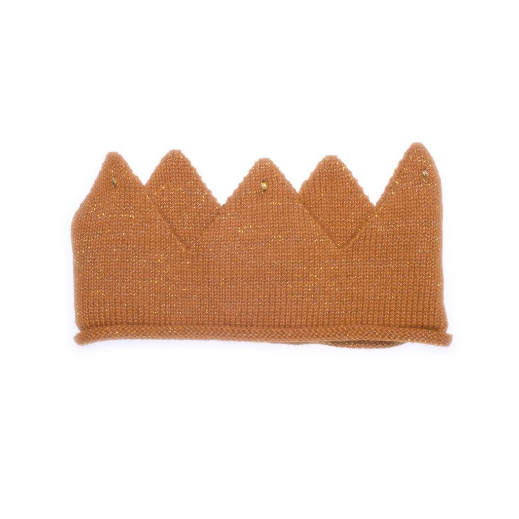 Cute gold knit crown. #fairtrade #oeufNYC