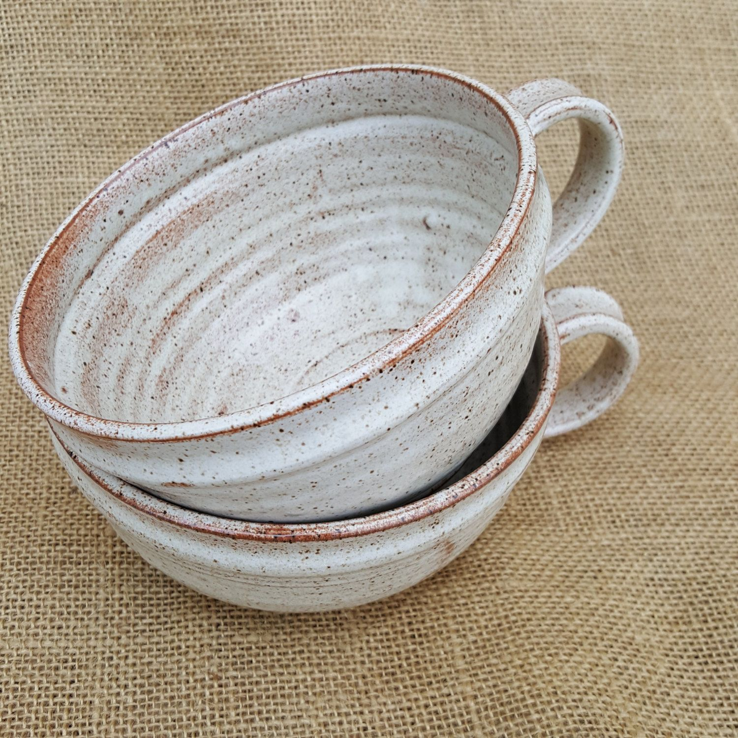 Rustic pottery pair of soup mugs, Pottery soup bowl with handle ...