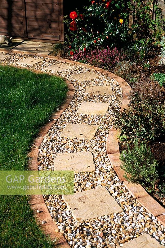 gap gardens gravel path with brick edging and square on extraordinary garden stone pathway ideas to copy id=33270