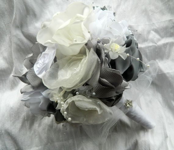 Wedding Bouquet in Fabric Silver White and Ivory by accessorarti