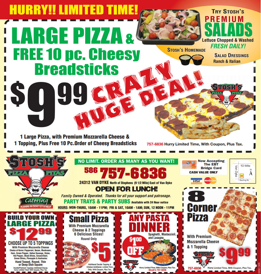 New Stosh S Coupons For All Of Your Pizza Pasta Salad Pita Sub Cravings Visit Stosh S Pizza In Center Line M Craving Pizza Italian Bread Sticks Cravings