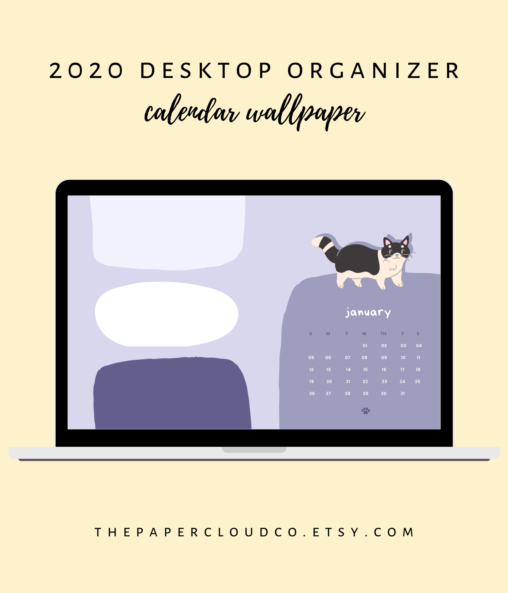Cute Desktop Organizer Wallpaper with 2020 Monthly