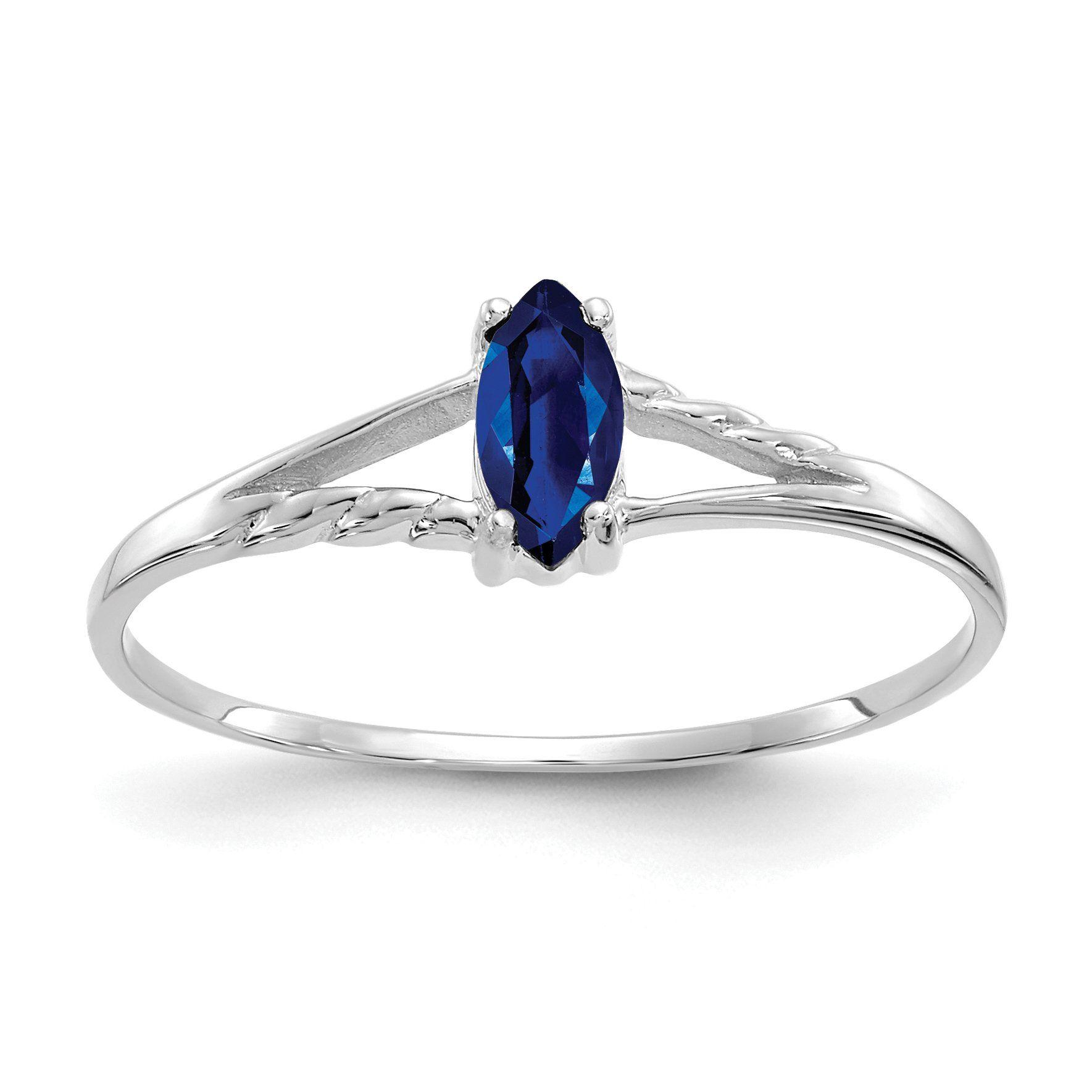 10k White Gold Polished Geniune Sapphire Birthstone Ring 10k White Gold Polished Geniune Sapphire Birthstone Ring Sapphire Birthstone White Gold Sapphire Ring White Gold