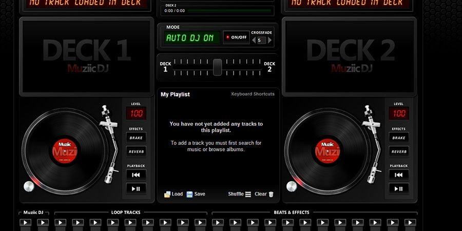 muziic virtual dj online free turntables mixing | on line