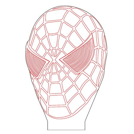 Spiderman mask 3d illusion lamp plan vector file for CNC