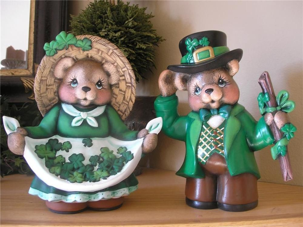 Ready to Paint St Patricks Boy Bear 10 Ceramic Bisque