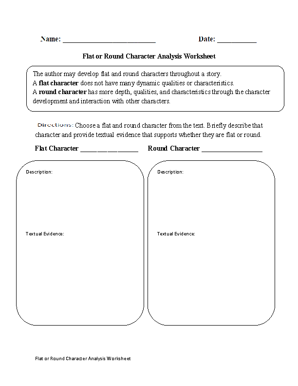 Flat Or Round Character Analysis Worksheet  Worksheets