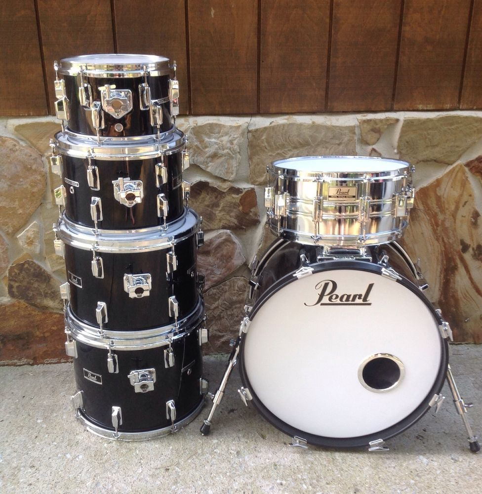 Vintage Pearl Mx Black Maple Drum Kit 10,12,14,15,