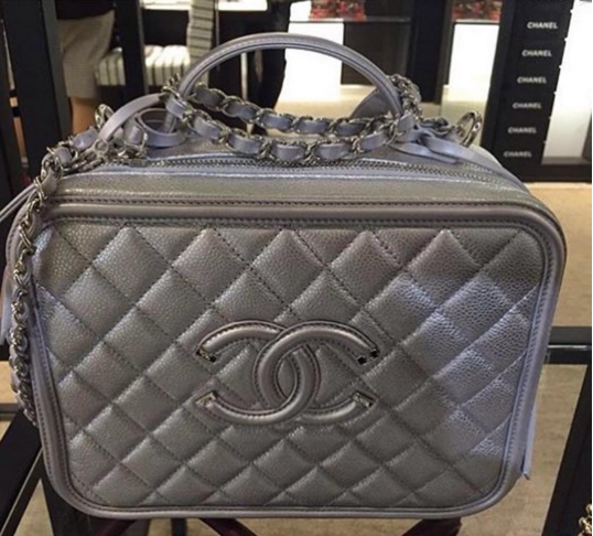 7a4f46bd6e06 Chanel Silver CC Filigree Vanity Case Medium Bag