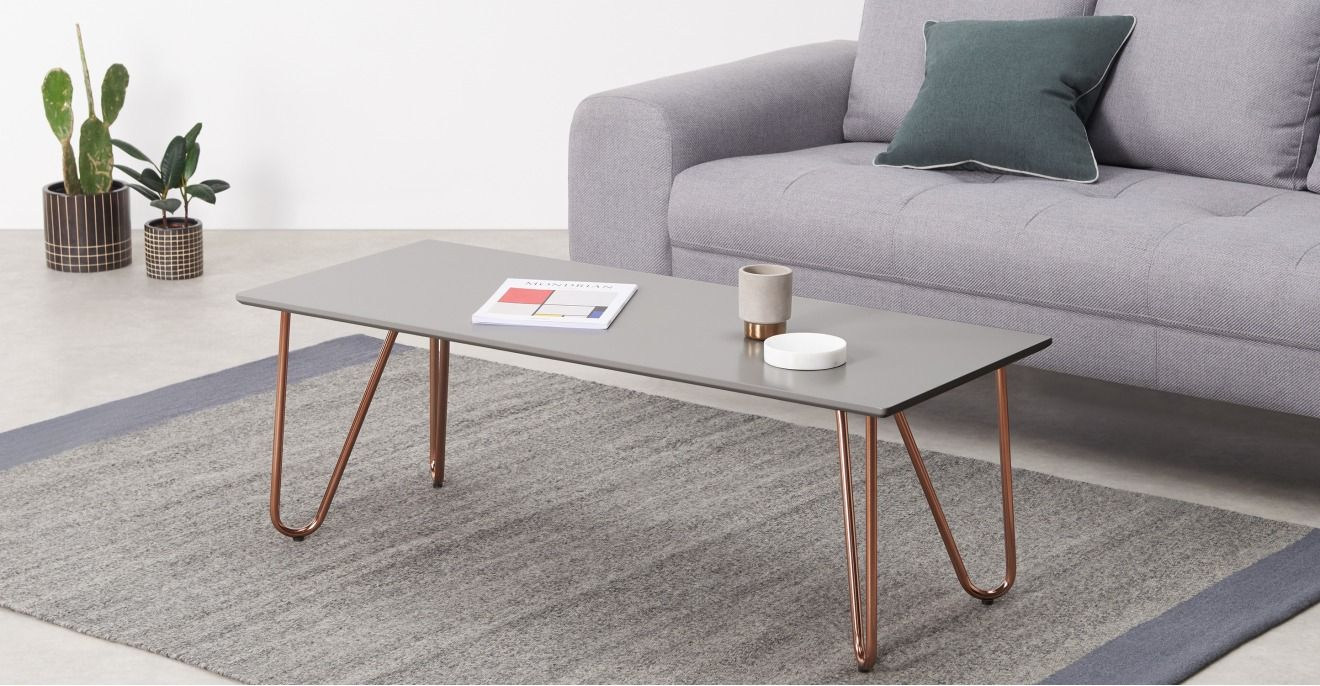 Eibar rectangular coffee table grey and copper in 2020