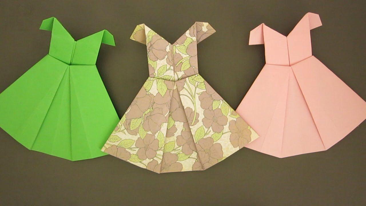 Для виртуального, платье открытка оригами видео